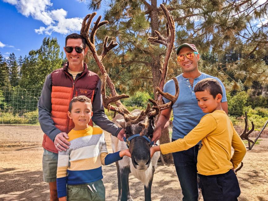 Full Taylor Family with Reindeer at Reindeer Farm Leavenworth Washington 4