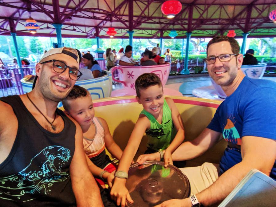 Full Taylor family Mad Tea Party teacups Fantasyland Magic Kingdom Disney World Florida 1