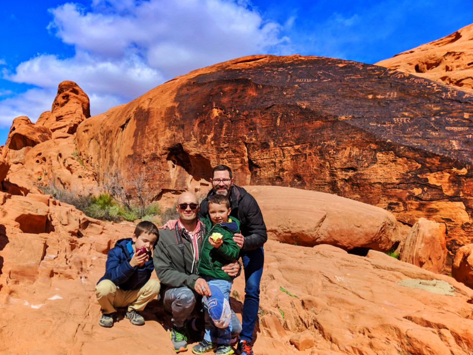 Full Taylor family on sandstone Mouse Tank trail at Valley of Fire State Park Las Vegas Nevada 2