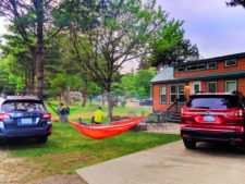 Hammocks between Subarus at Astoria KOA Campground Warrenton Oregon 2