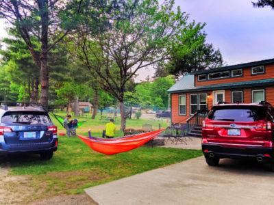 Hammocks between Subarus at Astoria KOA Campground Warrenton Oregon 2