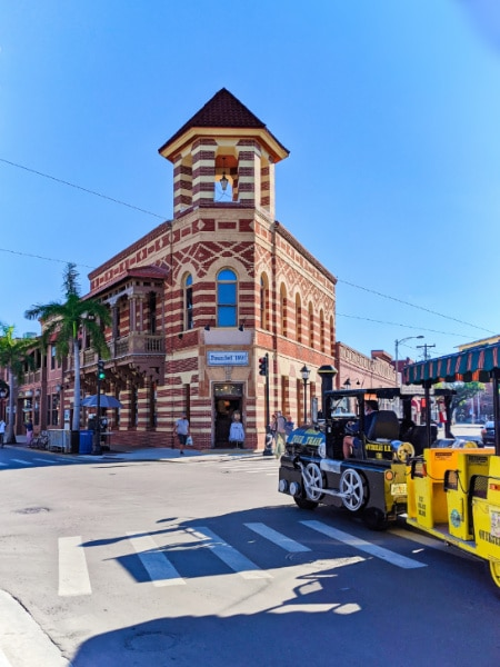 Historic Bank building and Conch Train Old Town Key West Florida Keys 2020 1
