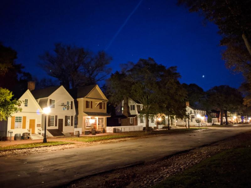 Historic district at Night Colonial Williamsburg Virginia 5