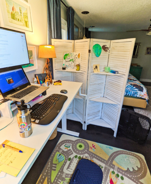 Home Office Setup with Adjustable Desk and Anti Fatigue Mat 2