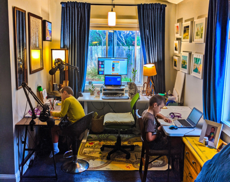 Home Office Setup with Shared Homeschool Space