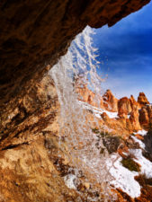 Hoodoos and frozen waterfall at Mossy Cave Trail Bryce Canyon National Park Utah 5