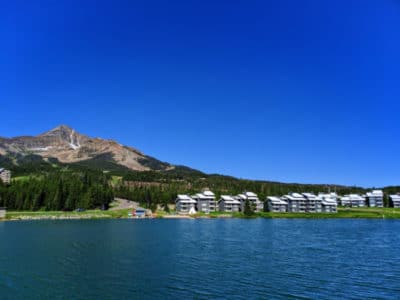 Hotel Condos in front of Lone Mountain Big Sky Resort Montana 1