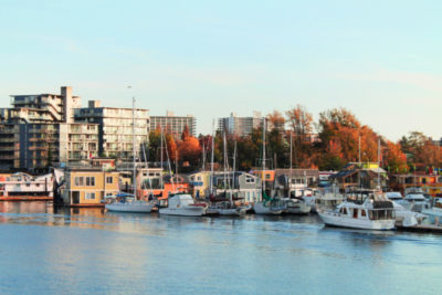 Houseboats in Wharf from MV Coho Victoria BC 2