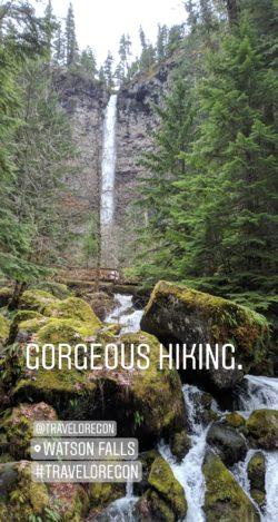 Taylor Family hiking Watson Falls IG story
