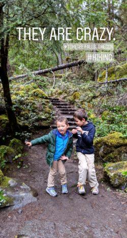 Taylor Family hiking at Tokatee Falls IG story