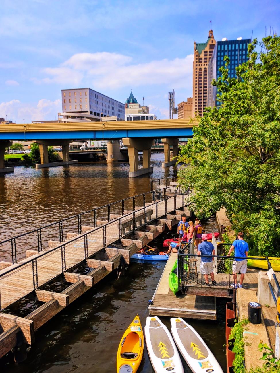 Kayaks on river in Historic Third Ward Downtown Milwaukee 1