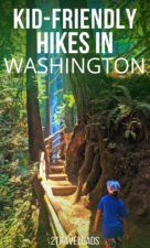 Kid friendly hikes in Washington State are plentiful. From hiking in the mountains to combing beaches, ancient forests to lush waterfalls, hiking in Washington is an adventure any time of year. #hiking #washington