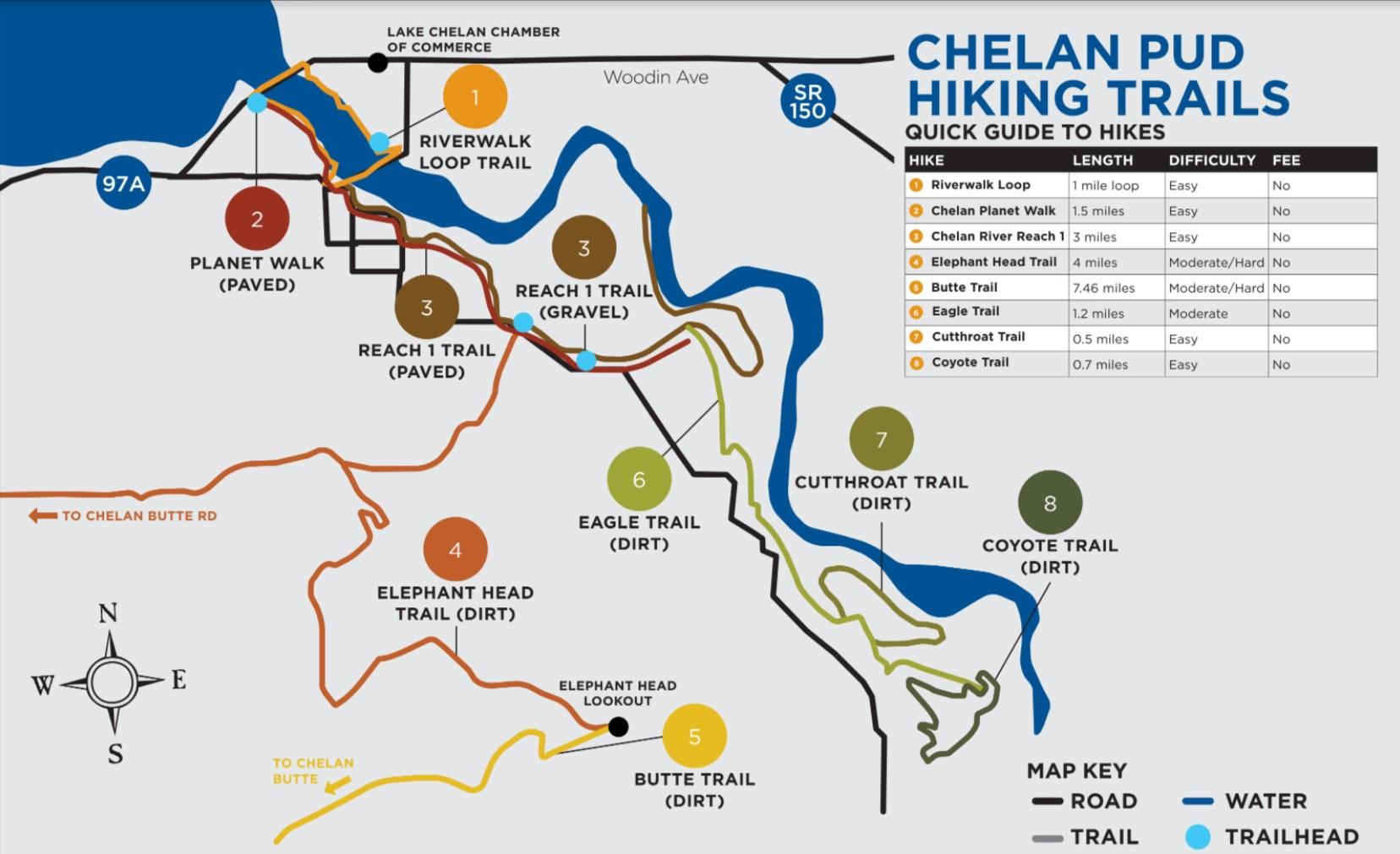 Lake Chelan Trails near Downtown Chelan Map