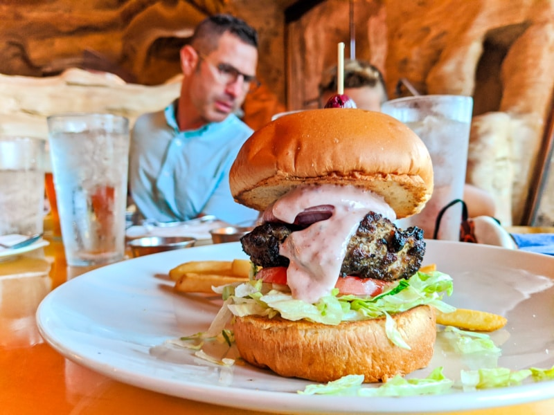 Lamb Burger at Mythos Restaurant Island of Adventure 2020 1