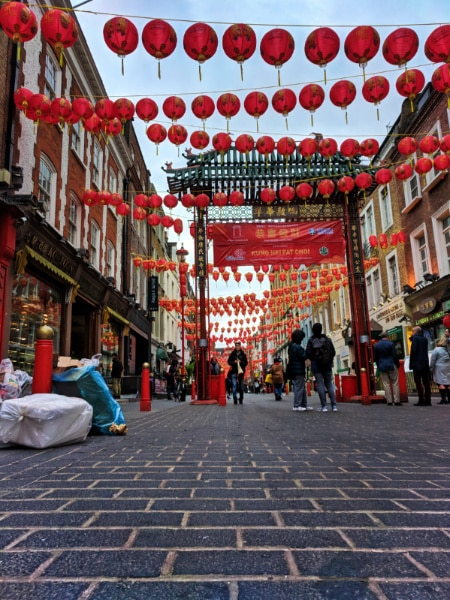 Lanterns in Chinatown Soho London UK 2