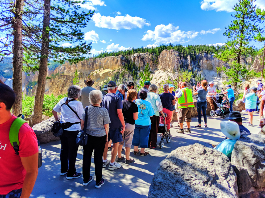 Line for Photos at Artist Point Grand Canyon of Yellowstone NP Wyoming 1