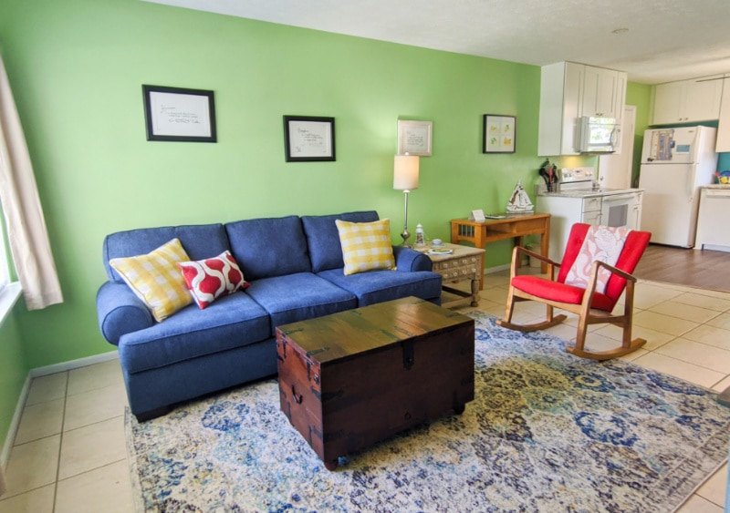 Living Room at Buccaneer Bungalow Butler Beach Saint Augustine Florida Vacation Rental 2b