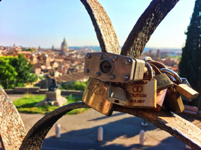 Love Locks with St Peters Basillica Rome Italy 1