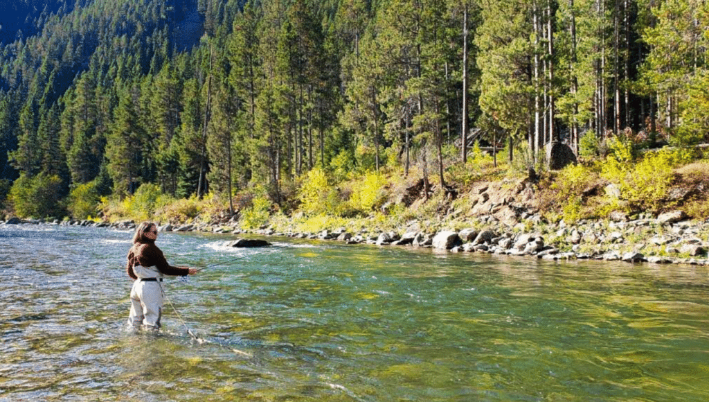 Meagan Wristen Mommy Travels fly fishing on Gallatin River Big Sky Montana 1