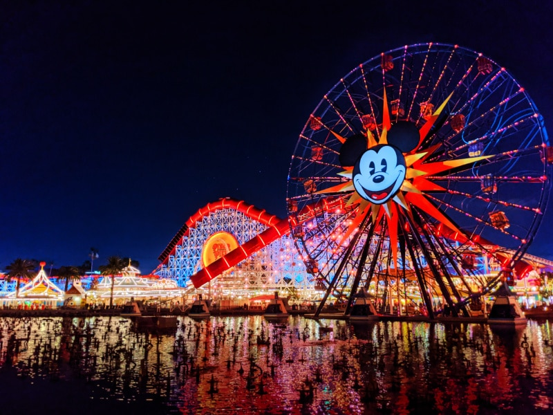 Mickeys Fun Wheel Pixar Pier at Night California Adventure Disneyland 2020 1