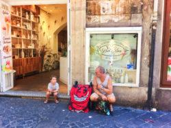 Milo with Gelato in Rome Italy 2