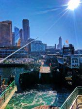 Morning sun on Seattle ferry terminal from Bainbridge Ferry 1