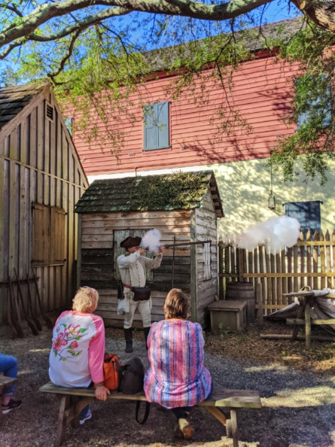 Musket Demonstration at Colonial Quarter living history Saint Augustine Florida 1