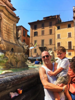 Nelson Barone Family at fountain in Rome Italy 1