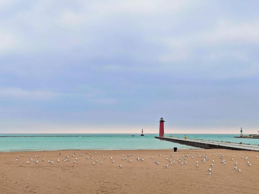 North Pier Lighthouse in the Rain Kenosha Wisconsin 4