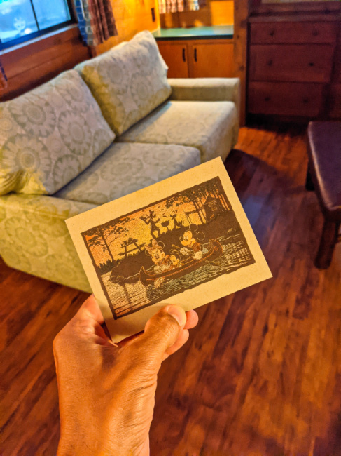 Notecard in Living Area at Fort Wilderness Resort and Campground Cabin Disney World Orlando 2