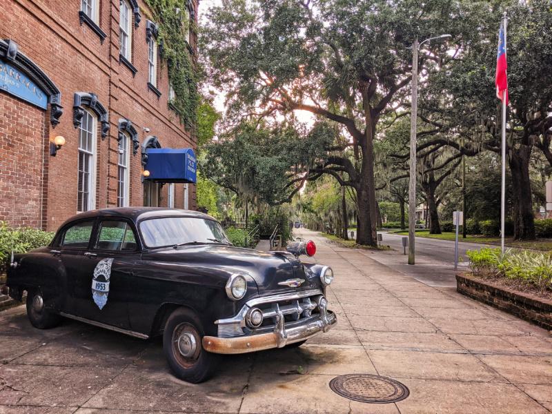 Old Police Car on Liberty Ave Savannah Georgia 1