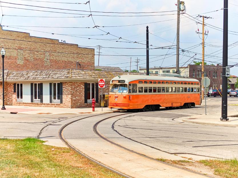 Orange Trolley Street Car in Kenosha Wisconsin 2