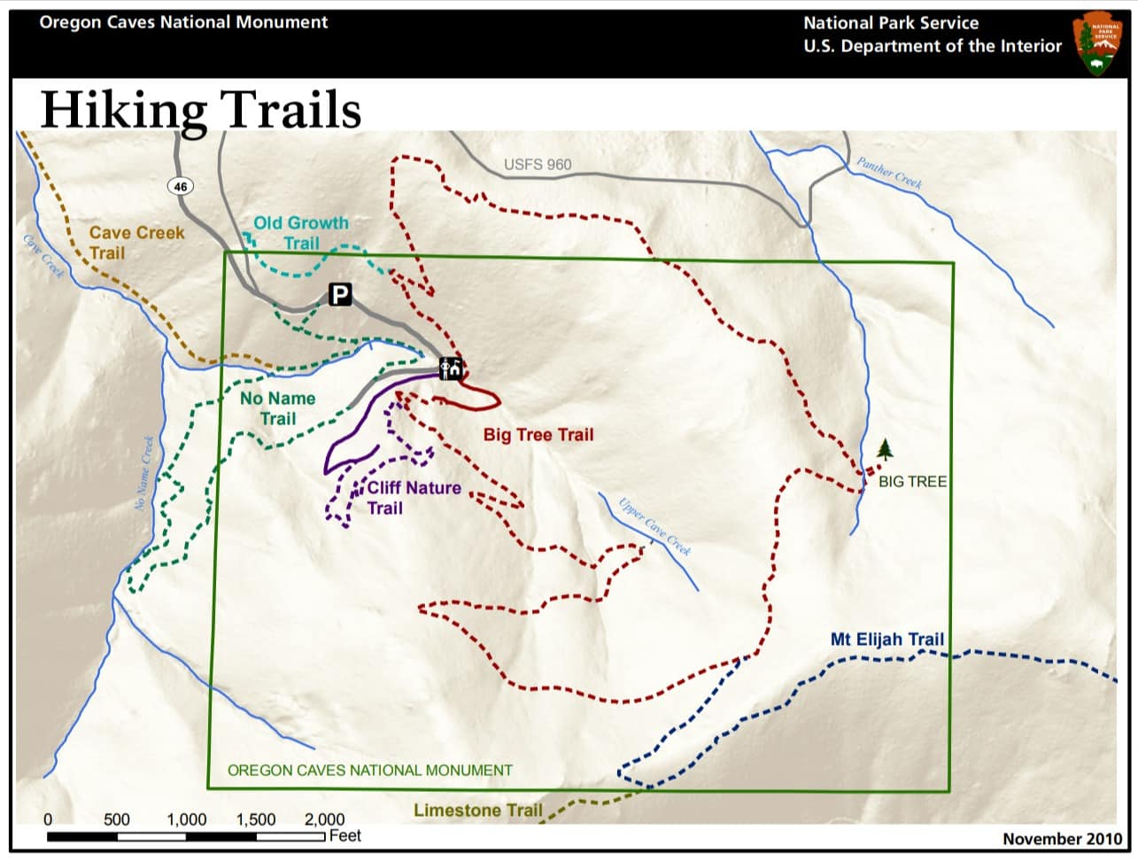 Oregon Caves National Monument Hiking Trails Map