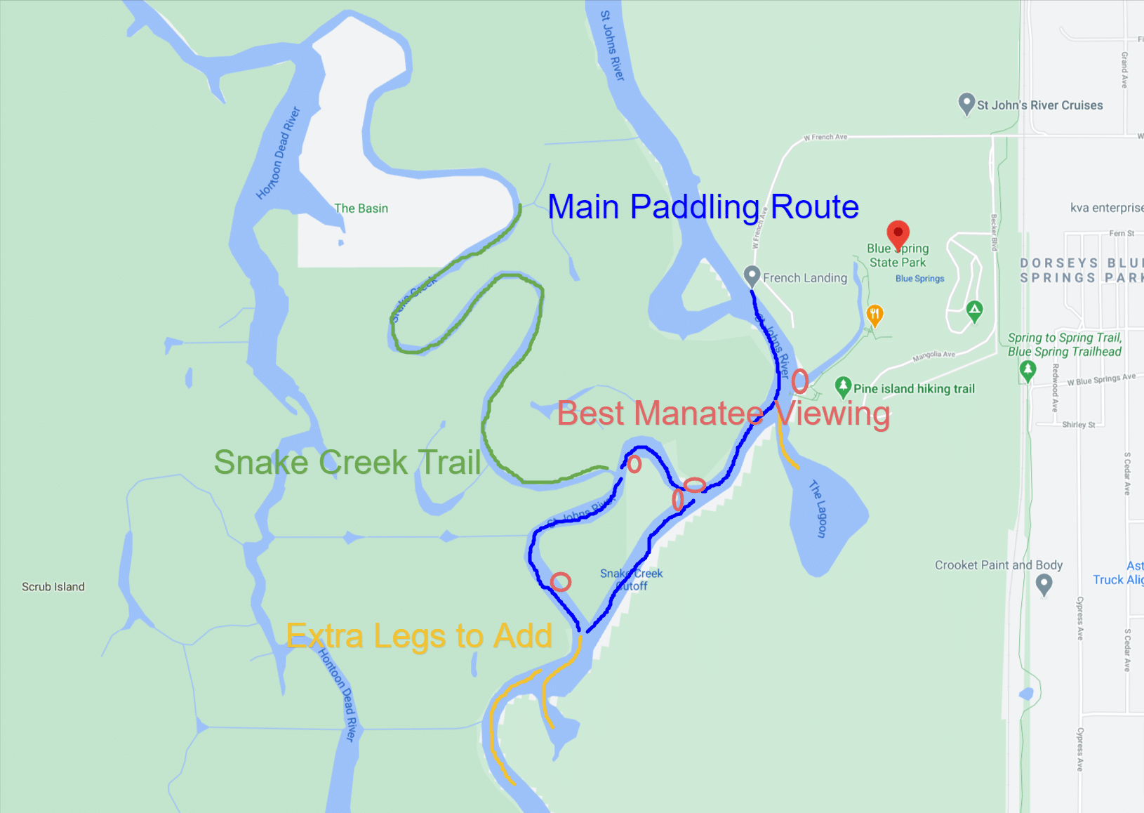 Paddling Routes at Blue Spring State Park