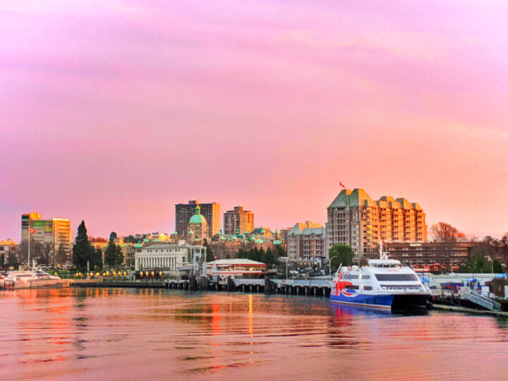 Parliament and Inner Harbour at Sunset from Black Ball Ferry Victoria BC 2