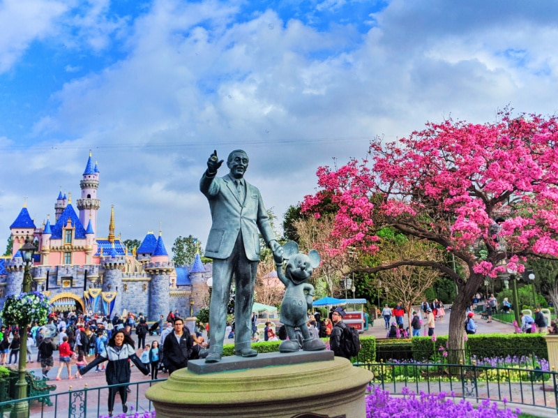 Partners Statue with Cherry Blossoms Disneyland 2020 1