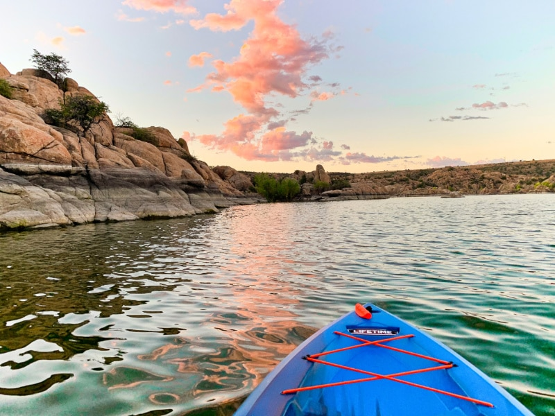 Prescott - tip of blue kayak - photo credit Visit Prescott
