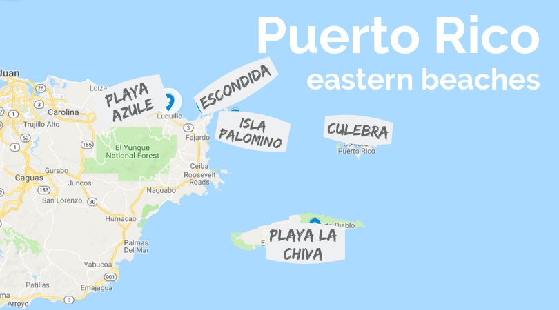 Puerto Rico eastern beaches map