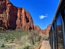 Red Rock walls from Zion Shuttle of Zion Canyon Zion National Park Utah 1