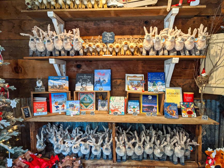 Reindeer Stuffed Animals in gift shop at Reindeer Farm Leavenworth Washington 1