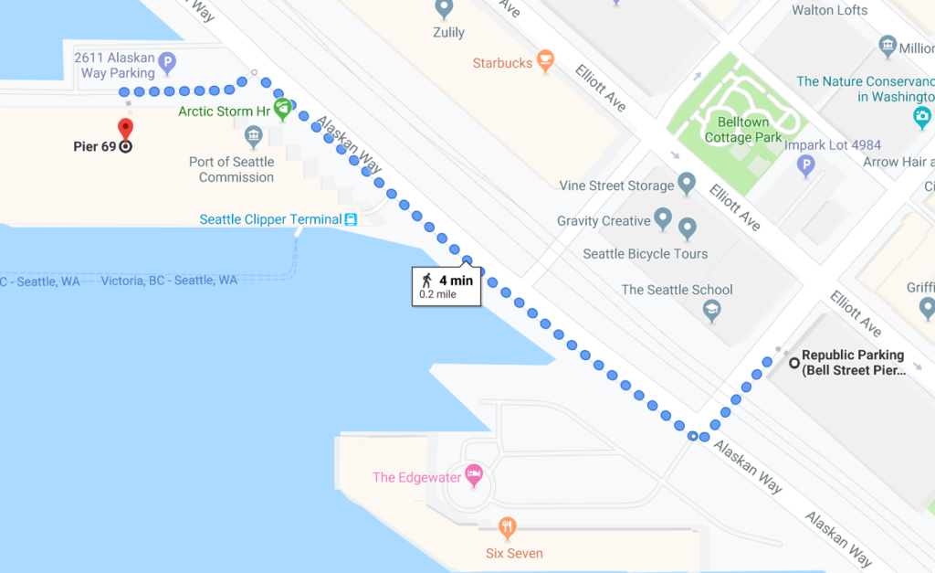 Map of Bell St Pier Garage to Victoria Clipper Terminal