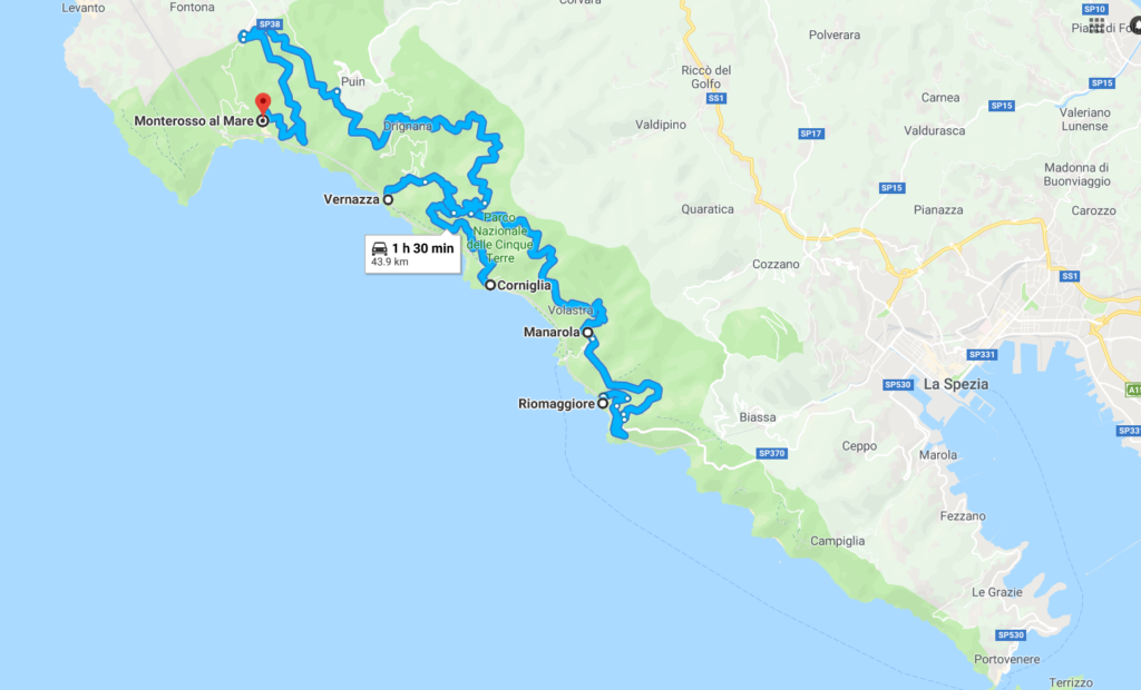 Driving map between the five towns of Cinque Terre, Italy
