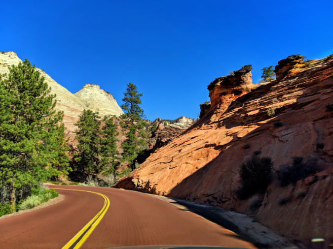 Road into Checkerboard Mesa Eastern side Zion National Park Utah 1