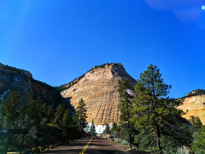 Road into Checkerboard Mesa Eastern side Zion National Park Utah 2