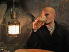 Rob Taylor Drinking Beer in Grotto Bar at Sleeping Lady Resort Leavenworth WA 2b