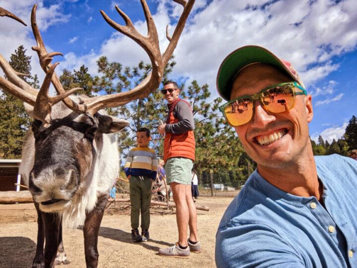 Rob Taylor and Family Doing Reindeer Selfie at Reindeer Farm Leavenworth Washington 2