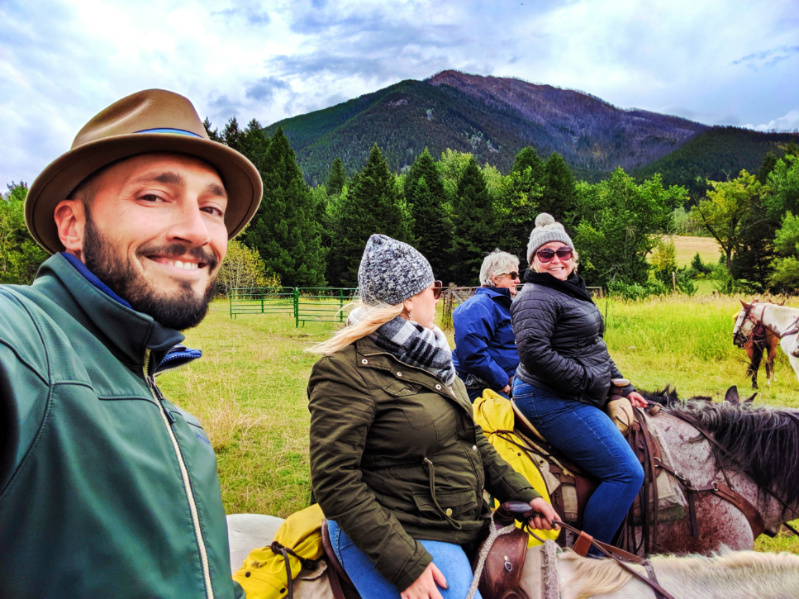 Rob Taylor and Karylin Owen Horseback riding at Livingston Montana 1