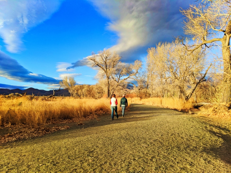 Rob Taylor and Kelly Walking Trails in Autumn at Riverview Park Carson City Nevada 2020 2
