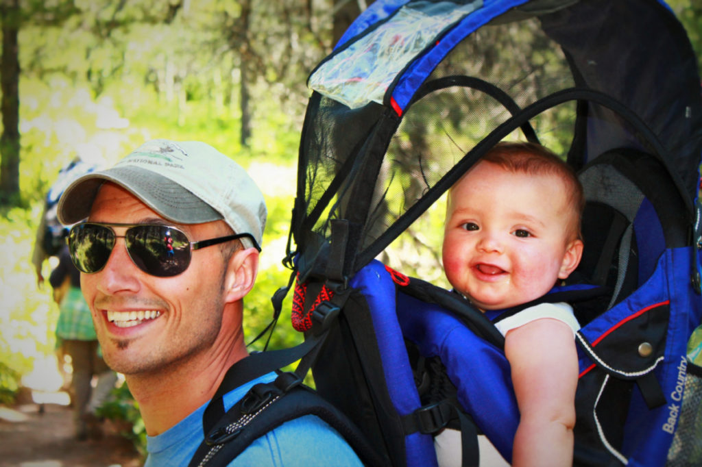 Rob Taylor and TinyMan in Hiking Pack Glacier National Park 3