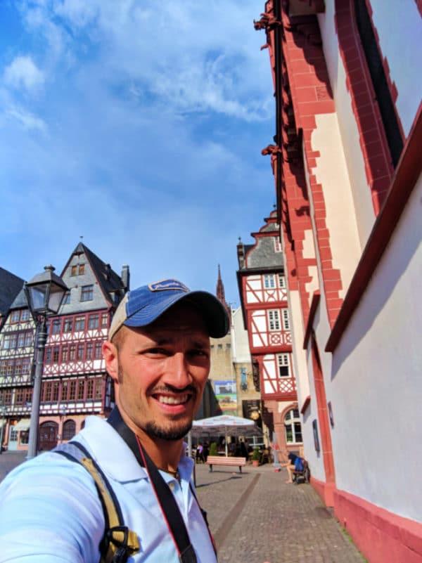 Rob Taylor at Church of St Nicholas in Romerberg Town Square Old Town Frankfurt Germany 2